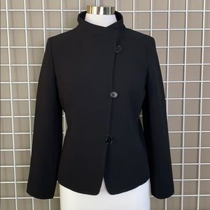Talbots Black Asymetrical 3 Button and Loop Blazer